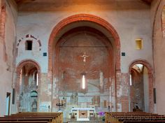 Apse with lateral chapels of the Red Church or Church of Santa Maria at the Font in Milan (Italy). Visit web site for more pictures and info about the church!