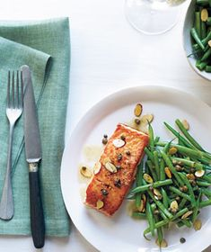 Salmon With Brown Butter and Almonds recipe from realsimple.com #myplate #protein #veggies