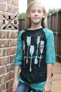 Kid's Wild and Free Burnout Shirt with Lace Sleeves