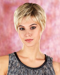 Faith is a beautiful lightweight short bob cut with a Monofilament crown which gives you a more natural appearance. This particular style features soft layers that can be worn full of volume or smooth and straight styling; long layers around the neck and a short wispy bang. Color 614GR-described as a Wheat Blonde with Light Gold Blonde Highlights and brown roots.