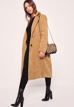 Missguided Longline Faux Shearling Coat on Shopstyle.