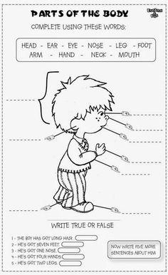 11 Best Images of Spanish Face Worksheet - Fruit and Vegetable Math Worksheets, Kindergarten Worksheets My Face Part and Face Worksheets for Kids English Activities For Kids, Learning English For Kids, English Lessons For Kids, Kids English, English Class, Teaching English, Learn English, Teaching Spanish, English English