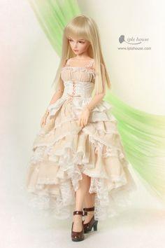 Iplehouse original JID girl Pink Peach dress set bjd msd