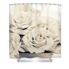 Ivory Roses Shower Curtain