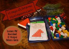 SO CUTE!  12 Days of Christmas Lego Patterns for young children.  Give your child one pattern a day as a Christmas advent gift.  As an added bonus there are Christmas songs to sing with your kids on every pattern card!