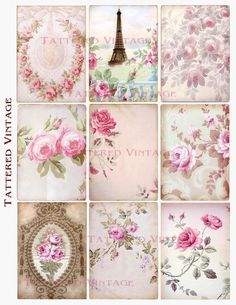 Roses Romance Fragments of Antique Wallpaper Collage 9 ATC Instant Download Collage Sheet Tattered Vintage no.179. $4.00, via Etsy.