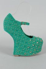Celine Studded Spike Heel Less Mary Jane Curved Wedge
