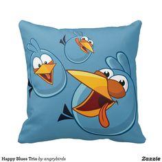 Angry Birds - Happy Blues Trio Throw Pillow, home decor, decoración. Producto disponible en tienda Zazzle. Product available in Zazzle store. Link to product: http://www.zazzle.com/happy_blues_trio_throw_pillow-189632298417101905?CMPN=shareicon&lang=en&social=true&rf=238167879144476949 #cojín #pillow
