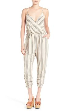 An ultra-flattering surplice neckline tops this drapey jumpsuit from Leith. It's detailed with shoulder-flaunting spaghetti straps and ruched, cropped hems for an easy warm-weather look.