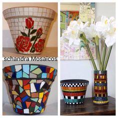 Mosaic Pots, Painted Pots, Planters, Crafts, Painting, Mosaics, Craft Ideas, Container Plants, Art