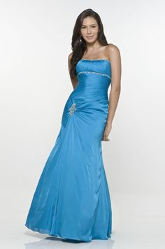 Vernal Strapless Beading Chiffon Satin Blue Evening Gowns