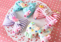 2sets Kawaii Fairy kei lolita Girly Deco Bow Crip Hair accessory