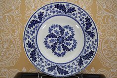 "English Transferware "" Deak "" blue and white bowl  pattern"