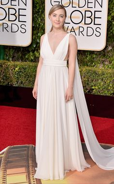 Saoirse Ronan from 2016 Golden Globes Red Carpet Arrivals  In Yves Saint Laurent Couture