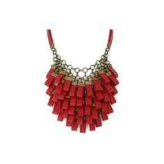 Red Leather Cluster Statement Necklace Leather Jewellery Leather Necklace ($139) found on Polyvore
