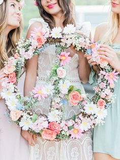 Get groovy props for your Coachella-inspired bridal shower, such as a floral peace sign wreath! A beautiful way to create boho photo-ops.