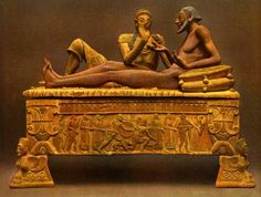 Etruscan couple recline on the lid of their sarcophagus, Caere tomb, circa 800 - 500 BCE Ancient Aliens, Ancient Rome, Ancient Greece, Ancient History, Art History, British History, Rome Antique, Art Antique, Objets Antiques