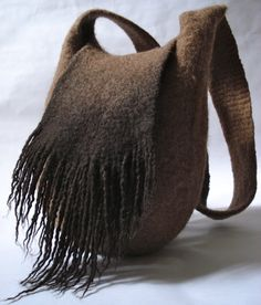 Felted shoulder bag with fringe from natural colored wool