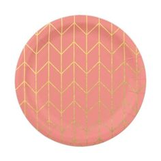 Use JUST4HERSALE For 15 Off Through 4 28 Gold Chevron Coral Pink Background Modern Chic 7 Inch Paper Plate