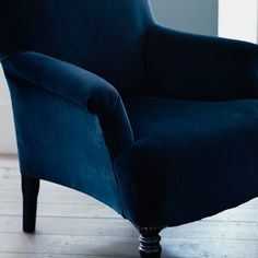 Finley Velvet Armchair, Midnight Blue