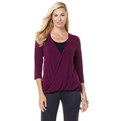 Product I designed for Slinky® Brand Knit Tunic with Overlapping Draped Front