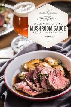 The secret ingredient in this steak with mushroom sauce is Eastern Shore Honey. Enjoy this wonderful recipe from Lisa Gallina. Stuffed Mushroom Caps, Stuffed Mushrooms, Stuffed Peppers, Honey Recipes, Sauce Recipes, Red Wine Mushroom Sauce, Beef Filet, Tenderloin Steak, Grilled Asparagus