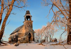 Hauntingly beautiful church ruins North Dakota.