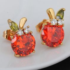16mm 18K Gold Plated Fashion Red Apple Inlaid Zircon Ladies Copper Earrings