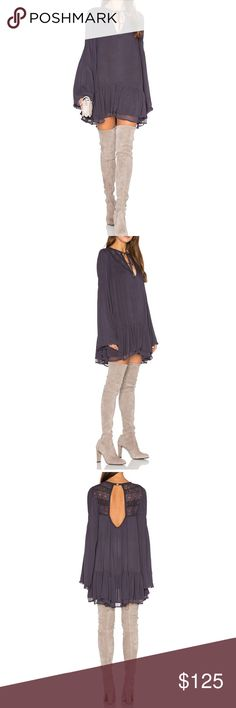 FREE PEOPLE One Night Victorian Tunic Hippie Dress Free People One Night Victorian dress. Size Medium. Retail price $128. Rare color Smoke - like a dusty grey plum purple taupe color. Victorian-inspired Long bell sleeve tunic babydoll dress. Features a semi-sheer crinkly fabrication with pretty crochet and lace details around the keyhole open neckline. Front ties and back cutout with O ring detail. Sweet ruffled hem. Brand new with tags. No trades 💕 100% Rayon Versatile piece can also be…