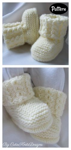 Baby Knitting Free, Baby Booties Knitting Pattern, Knit Baby Shoes, Knitted Baby Clothes, Booties Crochet, Crochet Baby Booties, Baby Knitting Patterns, Baby Patterns, Crochet Hats