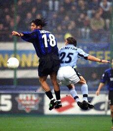Inter Milan 1 Lazio 1 in Nov 1999 at the San Siro. Ivan Zamorano jumps with Matias Almeyda in the Serie A clash.