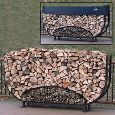 Fire Pit Discover ShelterIt 8 Oval Firewood Log Rack with Kindling Kit and 1 Cover