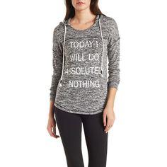 Charlotte Russe Marled Graphic Print Hoodie ($17) ❤ liked on Polyvore featuring tops, hoodies, heather gray combo, knit hoodie, sweatshirt hoodies, charlotte russe, knit tops and graphic hoodies
