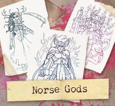 Craft epic stitches with intricate, colorful designs inspired by Norse gods and goddesses!