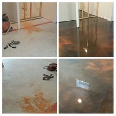 A storage basement being turned into a mancave with designer epoxy