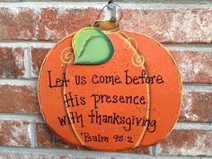 Thanksgiving Decor Pumpkin Scripture