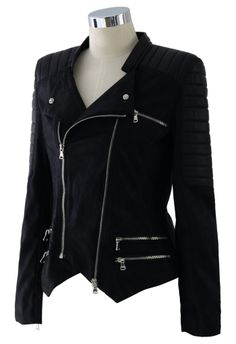 Faux Leather Zip Quilt Moto