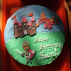 Castle, Dragon and Knight Birthday Cake