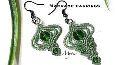 Macrame with Myow. In this video we will need: - Waxed cord - beads: - Earrings hook - Jump ri. Macrame Earrings Tutorial, Earring Tutorial, Bracelet Tutorial, Diy Earrings, Earrings Handmade, Crochet Earrings, Macrame Art, Macrame Knots, Macrame Jewelry