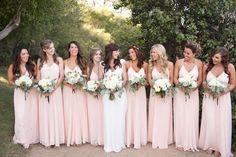 pink bridesmaids dresses - photo by Katrina Louise http://ruffledblog.com/secluded-garden-estate-wedding