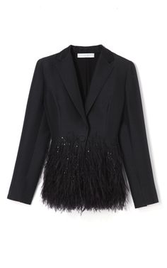 Always remember that your jacket should be as special and fancy as your frock. Carolina Herrera Cotton and Silk Mikado Jacket With Feather Detail