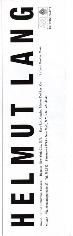 Helmut Lang Advertisement-F/W 97.98