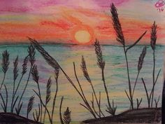 Lakeside at Sunset My Arts, Sunset, Painting, Painting Art, Paintings, Sunsets, Painted Canvas, The Sunset, Drawings