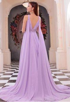 chiffon evening dress purple wedding dress