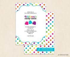 Rainbow Birthday Invitation with Polka Dots by LovelyLettersDesign