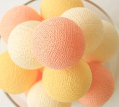 20 Handmade Cotton Ball Only for Bedroom String Lights, Patio Party, Outdoor, Fairy, Wedding Lights - Pastel Peach Cream Yellow