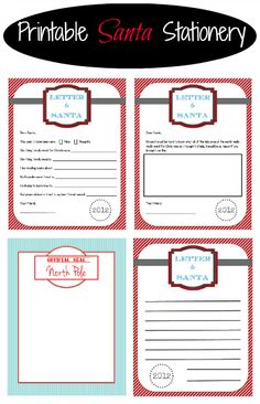 Adorable!! Printable Santa stationery. {Playdough to Plato}