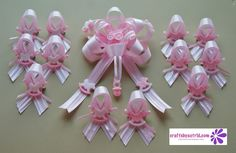 Complete Set of 1-Girl Baby Shower Corsage and 12 Piece Girl Baby Shower Guest Pin On Favors.