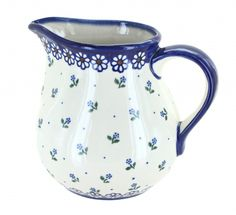 Jubilee Small Pitcher Blue And White Dinnerware, Kitchen Canisters, Polish Pottery, Stoneware, Kitchen Jars, Kitchen Containers, Ceramica