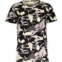 Yellow & Grey Camouflage T Shirt